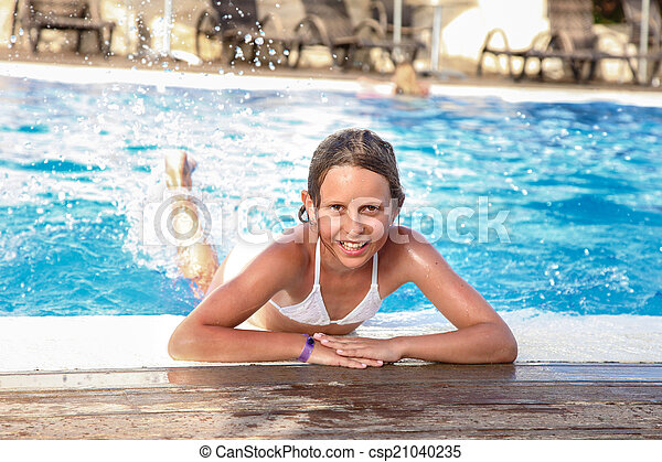 Pretty Teenage Girl On Holiday Young Pretty Teenage Girl Swimming Summer Photo Vacation Day