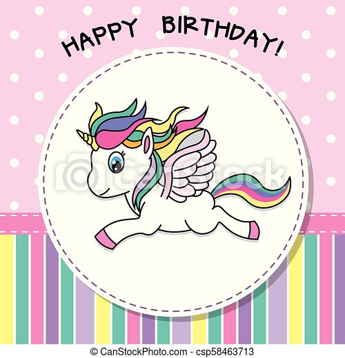 Happy Birthday Pretty Unicorn Card