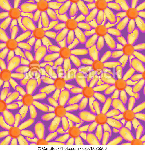Pretty Watercolor Daisy Flower Background - csp76625506