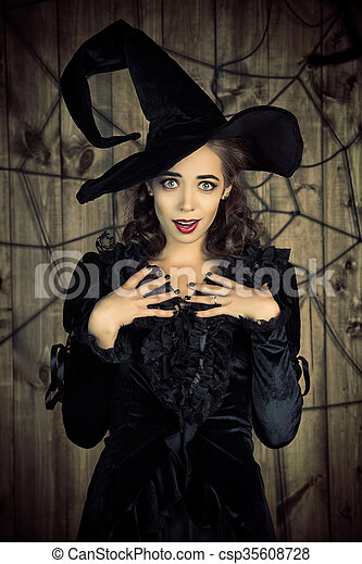 Pretty Witch Portrait Of A Beautiful Witch Lady In Black Dress And