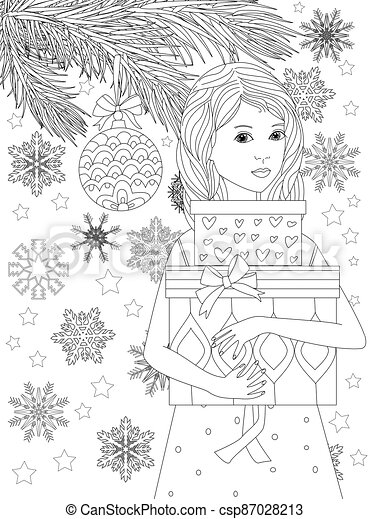 pretty woman holding christmas gift boxes stands against branches - csp87028213