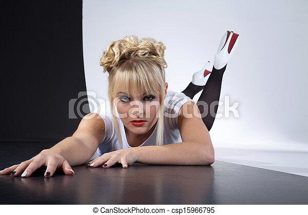 pretty woman in black and white - csp15966795