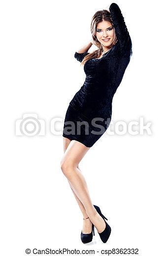 Pretty woman in black dress - csp8362332