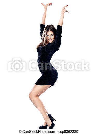 Pretty woman in black dress - csp8362330
