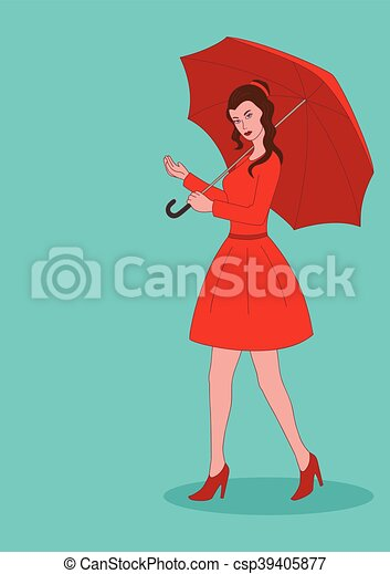 Pretty woman in red dress with umbrella - csp39405877