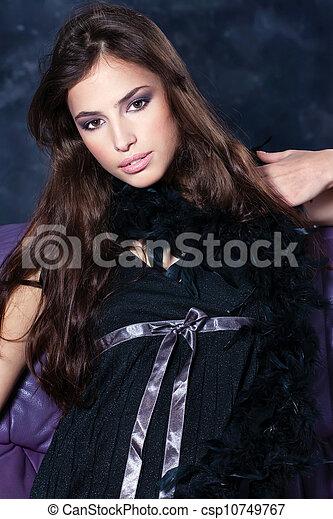 pretty woman on dark background - csp10749767