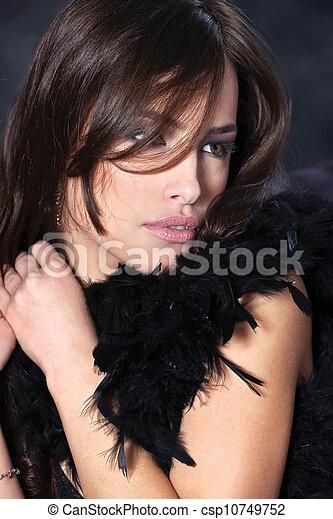 pretty woman on dark background - csp10749752