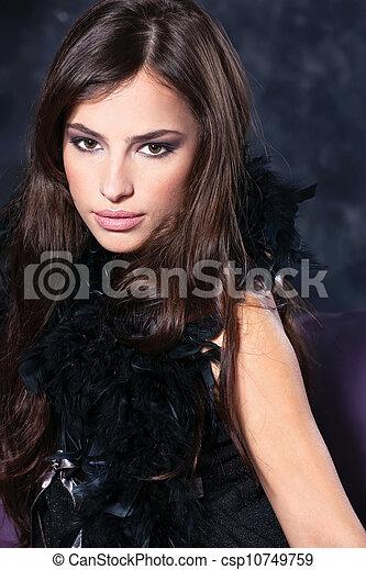 pretty woman on dark background - csp10749759
