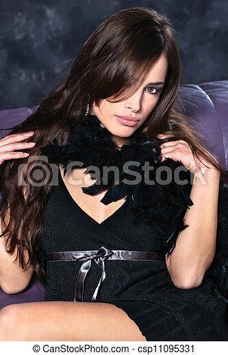 pretty woman on dark background - csp11095331