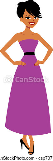Pretty Woman Wearing a Party Gown - csp7075511