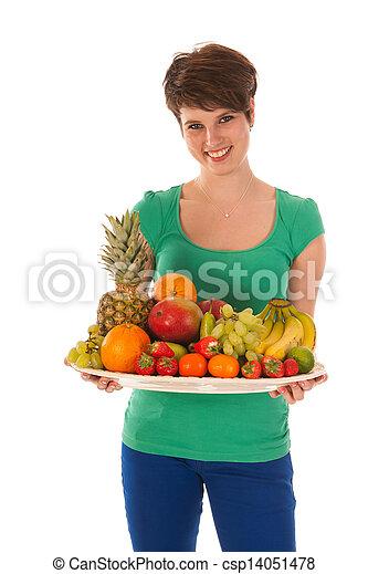 Pretty woman with fresh fruit - csp14051478