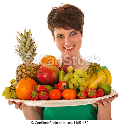Pretty woman with fresh fruit - csp14051480