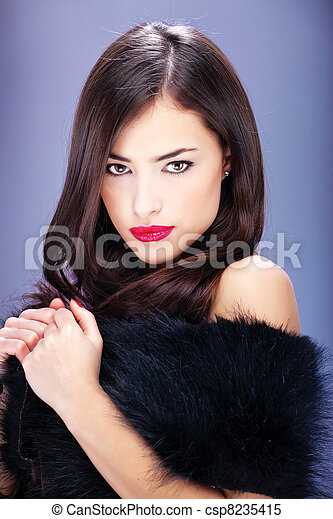 pretty woman with long hair - csp8235415