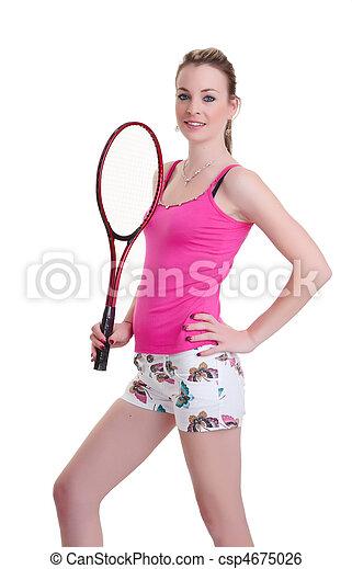 pretty woman with tennis racket on white - csp4675026