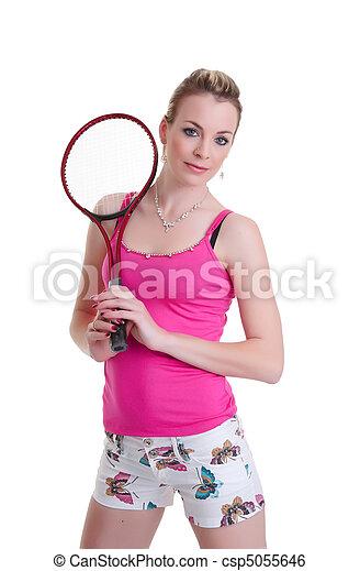pretty woman with tennis racket on white - csp5055646
