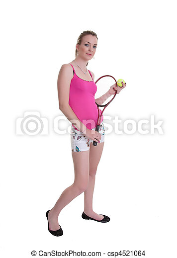pretty woman with tennis racket on white - csp4521064