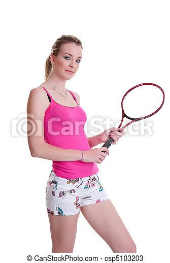pretty woman with tennis racket on white - csp5103203