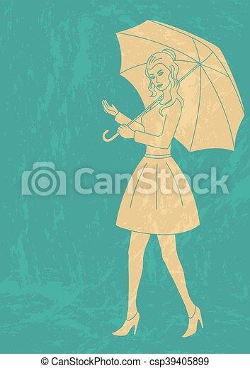 Pretty woman with umbrella - csp39405899