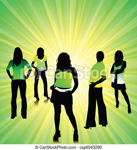 Pretty women silhouettes - csp6543290