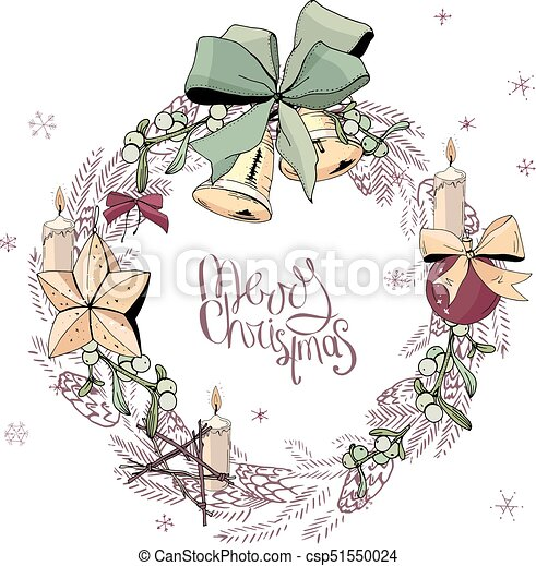 Pretty wreath with christmas decoration. round garland decorated ...