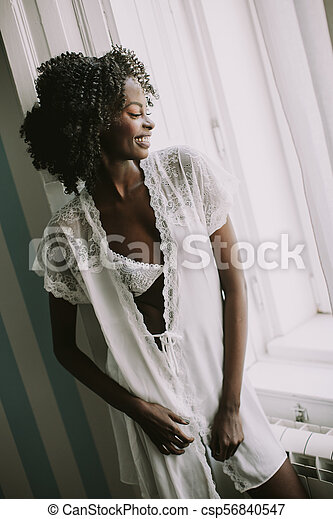 Pretty young african american woman - csp56840547