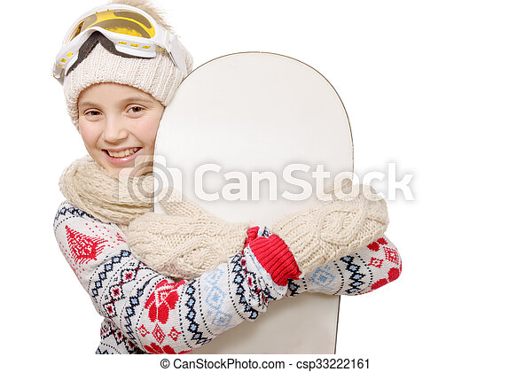 pretty young girl with a snowboard in studio - csp33222161