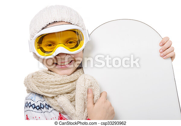 pretty young girl with a snowboard in studio - csp33293962