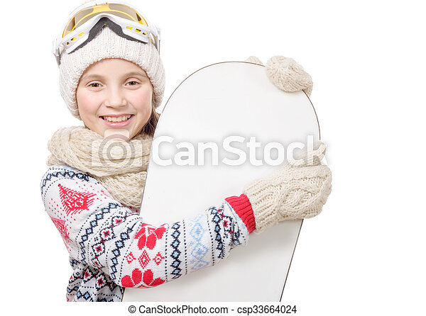 pretty young girl with a snowboard in studio - csp33664024