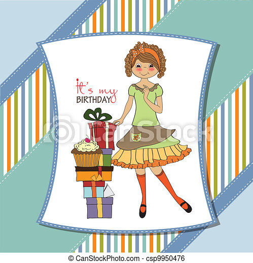 pretty young girl with gift - csp9950476
