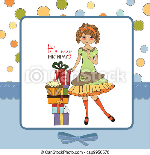 pretty young girl with gift - csp9950578