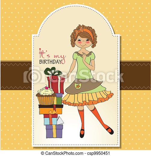 pretty young girl with gift - csp9950451