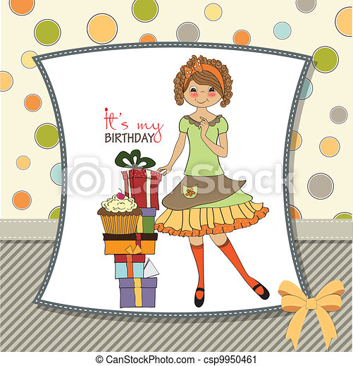 pretty young girl with gift - csp9950461