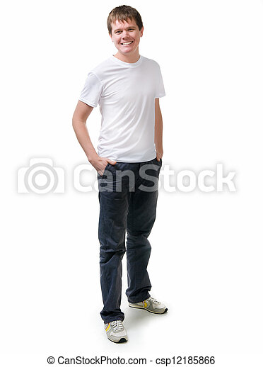 Pretty young man on white backgroun - csp12185866