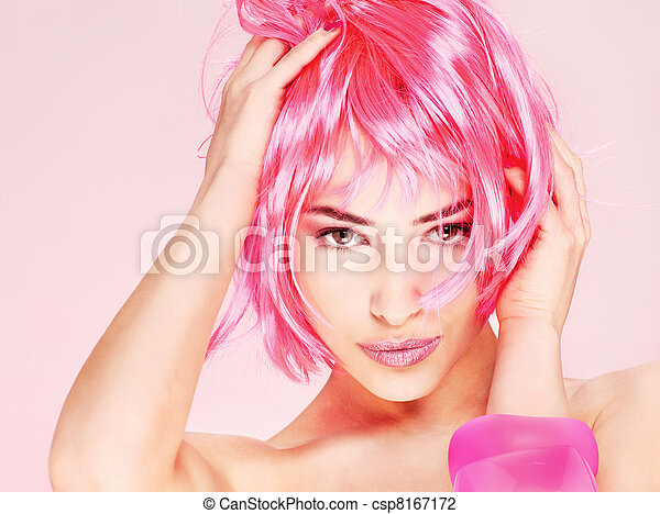 pretty young pink hair woman - csp8167172