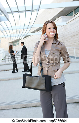 Pretty Young Woman at Office Building - csp5956664