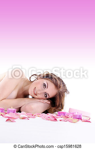 pretty young woman at spa - csp15981628