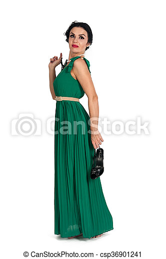 Pretty young woman in long green dress - csp36901241