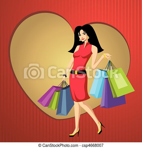 pretty young woman with bags - csp4668007