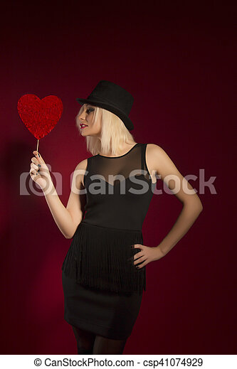 pretty young woman with heart - csp41074929