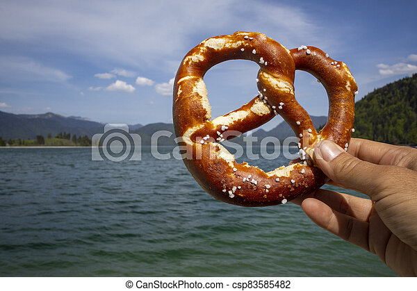 pretzel at Walchensee - csp83585482