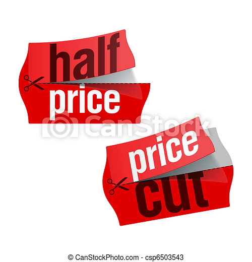 Price cut and half price stickers csp6503543