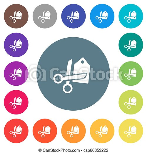 Price cut flat white icons on round color backgrounds - csp66853222