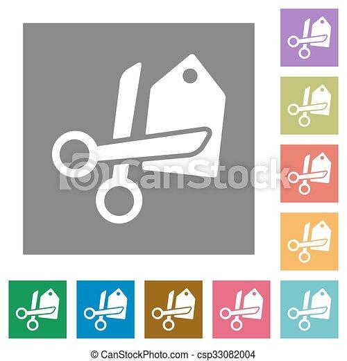 Price cut square flat icons - csp33082004