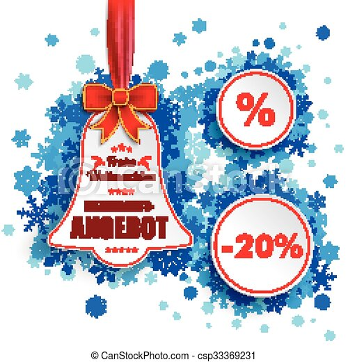 price sticker bell red ribbon blue snowflakes csp33369231