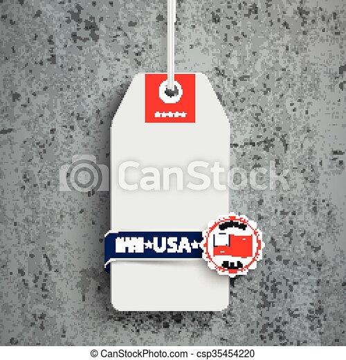 Price Sticker Made In USA Concrete - csp35454220