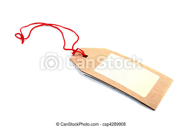 Price tag made of brown cardboard with red rope isolated on white background. - csp4289908
