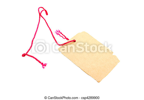 Price tag made of brown cardboard with red rope isolated on white background. - csp4289900
