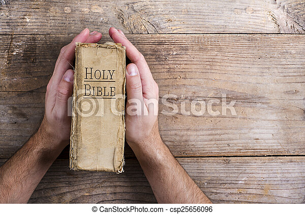 prier, bible, mains - csp25656096