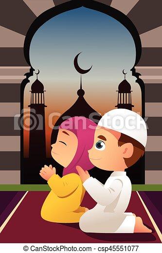 prier, mosquée, enfants, musulman - csp45551077