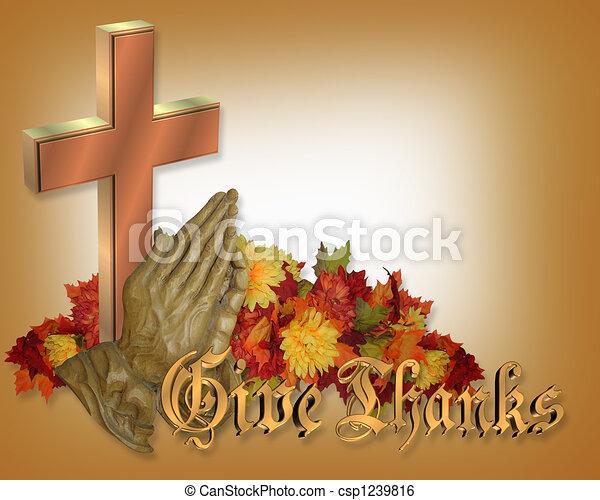 prier, thanksgiving, carte, mains - csp1239816